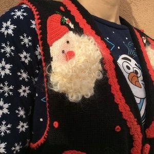 Vintage Sweaters - Vintage Santa Christmas Ugly Sweater Vest